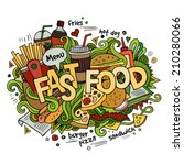 fast food hand lettering and... | Shutterstock .eps vector #210280066