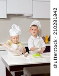 cute white little chefs baking... | Shutterstock . vector #210281842