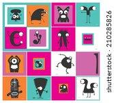 set of monsters  | Shutterstock .eps vector #210285826