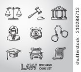 law  justice  freehand icons... | Shutterstock .eps vector #210288712