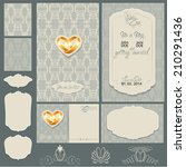 set of wedding invitation cards ... | Shutterstock .eps vector #210291436