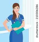 Female nurse or doctor in uniform in the workplace/Smiling nurse or doctor at the clinic interior background/Illustration of a young woman doctor or nurse in the workplace
