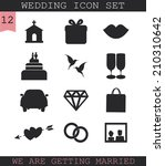 wedding icon set. | Shutterstock .eps vector #210310642