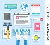 blogging concept in flat design ... | Shutterstock .eps vector #210312148