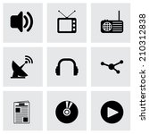 vector black media icons set on ... | Shutterstock .eps vector #210312838