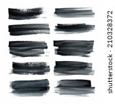 set of ink hand painted stripes.... | Shutterstock .eps vector #210328372