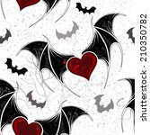 seamless with winged hearts on... | Shutterstock .eps vector #210350782