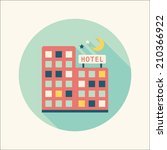 hotel flat icon with long shadow | Shutterstock .eps vector #210366922