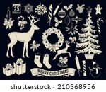 large vector set of christmas... | Shutterstock .eps vector #210368956