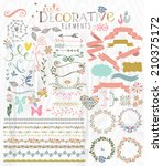 cute stylish decorative elements | Shutterstock . vector #210375172