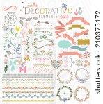 cute stylish decorative elements | Shutterstock . vector #210375172