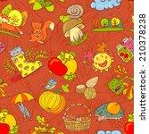 fall season seamless pattern | Shutterstock .eps vector #210378238