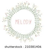musical frame with notes and... | Shutterstock .eps vector #210381406