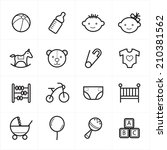 flat line icons for baby icons... | Shutterstock .eps vector #210381562