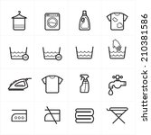 flat line icons for laundry and ...   Shutterstock .eps vector #210381586