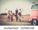 multi ethnic hippie friends... | Shutterstock . vector #210382138