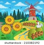 sunflowers near windmill  ... | Shutterstock .eps vector #210382192