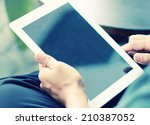 Businessman using digital tablet. - stock photo