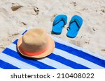 Straw Hat  Towel And Flip Flop...