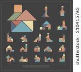 set of tangram houses   vector... | Shutterstock .eps vector #210415762