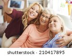 blonde girl taking selfie with... | Shutterstock . vector #210417895