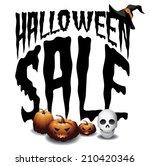 halloween sale scary typography ... | Shutterstock .eps vector #210420346