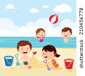 fun at the beach. happy kids... | Shutterstock .eps vector #210456778