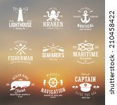 set of vintage nautical labels... | Shutterstock .eps vector #210458422