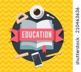 education flat design concept... | Shutterstock .eps vector #210463636