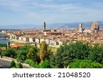 The panorama of Florence old city, Italy - stock photo