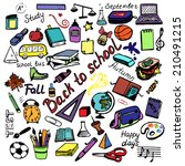 colorful back to school signs... | Shutterstock .eps vector #210491215