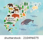 animal cartoon map. north... | Shutterstock .eps vector #210496075