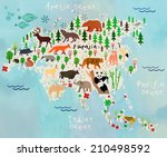 cartoon animal map. eurasia | Shutterstock .eps vector #210498592