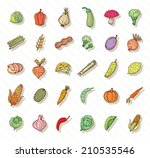 fruit and vegetables icon set.... | Shutterstock .eps vector #210535546