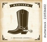 vintage western cowboy boot.... | Shutterstock .eps vector #210536602