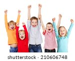 happy children with their hands ... | Shutterstock . vector #210606748