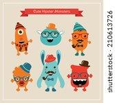 freaky cute retro hipster... | Shutterstock . vector #210613726