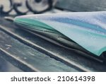 close up raindrops on umbrella... | Shutterstock . vector #210614398