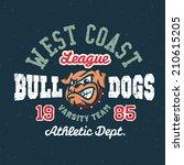 vintage bulldogs textured... | Shutterstock .eps vector #210615205