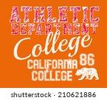college athletic spirit vector... | Shutterstock .eps vector #210621886