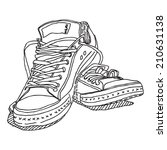 old sneakers vector drawing... | Shutterstock .eps vector #210631138