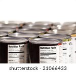 Canned Food Lined Up On Shelf...