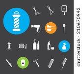 hairdressing equipment icons | Shutterstock .eps vector #210670942