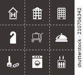 vector black hotel icons set on ... | Shutterstock .eps vector #210706342