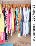colorful clothes hanging in... | Shutterstock . vector #210708415