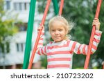 little cheerful girl in red and ... | Shutterstock . vector #210723202