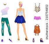 beautiful dress up female paper ... | Shutterstock .eps vector #210754852