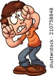 scared cartoon boy protecting... | Shutterstock .eps vector #210758848