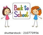 cute kids with school message | Shutterstock .eps vector #210773956