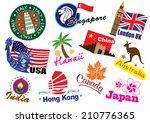 world country travel landmark... | Shutterstock . vector #210776365